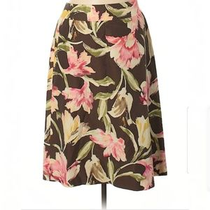 Talbots 8P Silk Pencil Skirt Floral Brown Pink